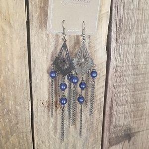 Antique silver & blue dangle earrings